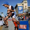 Dustin Judd carries his son Dyson Judd, 7, of Edmond outside the arena before Game 5 in the second round of the NBA playoffs between the Oklahoma City Thunder and the L.A. Lakers at Chesapeake Energy Arena in Oklahoma City, Monday, May 21, 2012. Photo by Bryan Terry, The Oklahoman