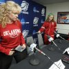 University of Oklahoma (OU) women\'s basketball head coach Sherri Coale and players Whitney Hand and Aaryn Ellenberg prepare to answer questions during the press conference before their practice for the first round of the NCAA Women\'s Basketball Championship Tournament at the Lloyd Noble Center on Saturday, March 17, 2012, in Norman, Okla. Photo by Steve Sisney, The Oklahoman