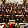 Gov. Mary Fallin is given sustained applause by lawmakers who have risen from their chairs to welcome the state\'s first female governor as she prepares to deliver her State of the State address to a joint session of the Oklahoma legislature Monday afternoon, Feb. 7, 2011. She called for fiscal restraint and demanded a more efficient state government. Photo by Jim Beckel, The Oklahoman