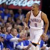 Oklahoma City\'s Russell Westbrook (0) celebrates during Game 1 in the second round of the NBA playoffs between the Oklahoma City Thunder and the L.A. Lakers at Chesapeake Energy Arena in Oklahoma City, Monday, May 14, 2012. Photo by Sarah Phipps, The Oklahoman