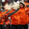 The OSU pom squad performs during the Bedlam college football game between the Oklahoma State University Cowboys (OSU) and the University of Oklahoma Sooners (OU) at Boone Pickens Stadium in Stillwater, Okla., Saturday, Dec. 7, 2013. Photo by Nate Billings, The Oklahoman