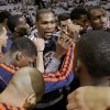 Oklahoma City\'s Kevin Durant huddles with teammates before Game 3 in the first round of the NBA playoffs between the Oklahoma City Thunder and the Houston Rockets at the Toyota Center in Houston, Texas, Saturday, April 27, 2013. Photo by Bryan Terry, The Oklahoman