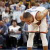 Oklahoma City\'s Russell Westbrook (0) reacts after being called for a foul in the fourth quarter during the NBA basketball game between the Oklahoma City Thunder and the San Antonio Spurs at Chesapeake Energy Arena in Oklahoma City, Friday, March 16, 2012. San Antonio won, 114-105. Photo by Nate Billings, The Oklahoman