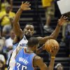 Memphis\' Tony Allen (9) defends Oklahoma City\'s Kevin Durant (35) during Game 3 in the second round of the NBA basketball playoffs between the Oklahoma City Thunder and Memphis Grizzles at the FedExForum in Memphis, Tenn., Saturday, May 11, 2013. Memphis won, 87-81. Photo by Nate Billings, The Oklahoman