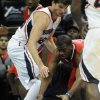 Atlanta Hawks\' Kyle Korver (26) blocks Los Angeles Clippers\' Chris Paul (3) in the first half of an NBA basketball game at Philips Arena in Atlanta, Saturday, Nov. 24, 2012. (AP Photo/David Tulis)