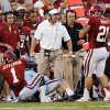 Defensive coordinator Mike Stoops is upset with his defense during a college football game between the University of Oklahoma Sooners (OU) and the Kansas State University Wildcats (KSU) at Gaylord Family-Oklahoma Memorial Stadium, Saturday, September 22, 2012. Photo by Steve Sisney, The Oklahoman