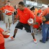 Heralded OSU freshman basketball player LeBryan Nash plays with fans before the OSU-Arizona football game Thursday night in Stillwater. PHOTO BY BRYAN TERRY, The Oklahoman