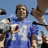 Photo - SPRING FOOTBALL GAME: OU's Sam Bradford talks to the media after the University of Oklahoma's Red-White college football game at The Gaylord Family -- Oklahoma Memorial Stadium in Norman, Okla., Saturday, April 11, 2009. Photo by Bryan Terry, The Oklahoman ORG XMIT: KOD