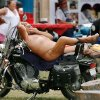 A man reclines on his motorcycle while waiting to participate in bike games at the Sparks America Bikers Week in Lincoln County, June 19, 2009 . He is not identified, but people at the rally called him Nature Man. Photo by Jim Beckel, The Oklahoman