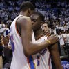 Oklahoma City\'s Kevin Durant (35) hugs Reggie Jackson (15) following Game 5 in the second round of the NBA playoffs between the Oklahoma City Thunder and the Memphis Grizzlies at Chesapeake Energy Arena in Oklahoma City, Wednesday, May 15, 2013. Photo by Sarah Phipps, The Oklahoman