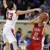 Shattuck\'s Daniela Galindo looks to pass the ball as Erick\'s Kelsey Brinkley defends during the Class B Girls semifinal game of the state high school basketball tournament between Erick and Shattuck at the State Fair Arena., Friday, March 1, 2013. Photo by Sarah Phipps, The Oklahoman