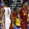 Iowa State\'s Bubu Palo (1) and Will Clyburn (21) celebrate a three-point basket in front of Oklahoma\'s Steven Pledger (2) during the Phillips 66 Big 12 Men\'s basketball championship tournament game between the University of Oklahoma and Iowa State at the Sprint Center in Kansas City, Thursday, March 14, 2013. Photo by Sarah Phipps, The Oklahoman