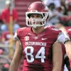 Photo - In this photo taken on Oct. 12, 2013, Arkansas tight end Hunter Henry walks onto the field during the second half of an NCAA college football game in Fayetteville, Ark. (AP Photo/April L. Brown
