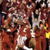 Oklahoma\'s Brennan Clay (24) reacts after rushing for the game-winning touchdown in overtime during the Bedlam college football game between the University of Oklahoma Sooners (OU) and the Oklahoma State University Cowboys (OSU) at Gaylord Family-Oklahoma Memorial Stadium in Norman, Okla., Saturday, Nov. 24, 2012. OU won, 51-48 in overtime. Photo by Nate Billings , The Oklahoman