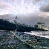 A 168-foot water tanker, the John B. Caddell, sits on the shore Tuesday morning, Oct. 30, 2012 where it ran aground on Front Street in the Stapleton neighborhood of New York\'s Staten Island as a result of superstorm Sandy. (AP Photo/Sean Sweeney) ORG XMIT: NYR101