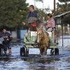 Photo - People commute to work through a flooded street in the Tacumbu neighborhood of Asuncion, Paraguay, Tuesday, June 10, 2014. Thousands of people living along the Paraguay River have been affected by flooding after the river overflowed its banks. (AP Photo/Jorge Saenz)