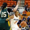 Oklahoma State\'s Tiffany Bias (3) gets around Vermont\'s Annie Wheeler (15) during the women\'s college basketball game between Oklahoma State University and Vermont at Gallagher-Iba Arena in Stillwater, Okla., Sunday,Dec. 16, 2012. Photo by Sarah Phipps, The Oklahoman