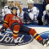 Florida Panthers\' Stephen Weiss falls in front of the Toronto Maple Leafs bench during the first period of an NHL hockey game in Sunrise, Fla., Monday, Feb. 18, 2013. (AP Photo/J Pat Carter)