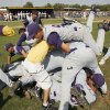 The Class B baseball team from Red Oak, Oklahoma, celebrates their win after beating the team from Roff in the championship game at Dolese Park in Oklahoma City, OK, Saturday, Oct. 11, 2008. BY PAUL HELLSTERN, THE OKLAHOMAN