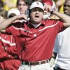 Oklahoma coach Bob Stoops yells at his offense in the first half during the University of Oklahoma Sooners (OU) college football game against Baylor University Bears (BU) at Floyd Casey Stadium, on Saturday, Nov. 18, 2006, in Waco, Texas. by Chris Landsberger, The Oklahoman