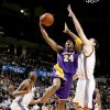 Kobe Bryant of the Lakers drives between Oklahoma City\'s Kevin Durant, left, and Nenad Krstic during the NBA basketball game between the Los Angeles Lakers and the Oklahoma City Thunder at the Ford Center,Tuesday, Feb. 24, 2009. The Thunder lost 107-93. PHOTO BY BRYAN TERRY, THE OKLAHOMAN