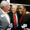 From left, Chuck Fairbanks, of Nebraska, Barry Switzer, of OU, and Johnny Rodgers, of Nebraska, talk in Norman, Okla., Friday, October 31, 2008, during a reunion for the 1971 Game of the Century between the University of Oklahoma and Nebraska. BY BRYAN TERRY, THE OKLAHOMAN