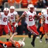 Nebraska\'s Niles Paul slips past OSU\'s Quinn Sharp as he returns a kickoff for touchdown during the college football game between the Oklahoma State Cowboys (OSU) and the Nebraska Huskers (NU) at Boone Pickens Stadium in Stillwater, Okla., Saturday, Oct. 23, 2010. Photo by Sarah Phipps, The Oklahoman ORG XMIT: KOD