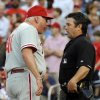 Photo -   Philadelphia Phillies manager Charlie Manuel argues with home plate umpire Rob Drake after he was ejected for questioning a walk to Washington Nationals' Bryce Harper during the first inning of their baseball game at Nationals Park, Friday, May 4, 2012, in Washington. (AP Photo/Richard Lipski)