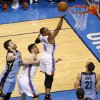 Oklahoma City\'s Russell Westbrook (0) goes to the basket between Nick Collison (4), Memphis\' Marc Gasol (33), Tayshaun Prince (21), and Zach Randolph during Game 5 in the first round of the NBA playoffs between the Oklahoma City Thunder and the Memphis Grizzlies at Chesapeake Energy Arena in Oklahoma City, Tuesday, April 29, 2014. Photo by Nate Billings, The Oklahoman