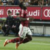 Photo - AC Milan midfielder Sulley Muntari, of Ghana, celebrates after scoring during the Serie A soccer match between AC Milan and Sassuolo at the San Siro stadium in Milan, Italy, Sunday, May 18, 2014. (AP Photo/Antonio Calanni)