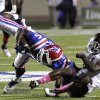 Louisiana Tech\'s D.J. Banks is slung to the ground by a Texas A&M defender in the third quarter during an NCAA football game in Shreveport, La.,Saturday, Oct. 13, 2012. (AP Photo/Kita K Wright)