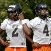 Deondre Clark, left, and D.J. Ward of Douglass wait in line during football practice at Douglass high school in Oklahoma City, Tuesday, August 7, 2012. Photo by Bryan Terry, The Oklahoman