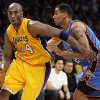 Los Angeles\' Kobe Bryant (24) drives past Oklahoma City\'s Thabo Sefolosha (2) during Game 4 in the second round of the NBA basketball playoffs between the L.A. Lakers and the Oklahoma City Thunder at the Staples Center in Los Angeles, Saturday, May 19, 2012. Photo by Nate Billings, The Oklahoman