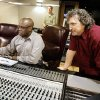 Producers Tony Williams, left, and Dave McKerley, right, John Allen, musician from Okla. City in the center background, in the Academy of Recording Arts studio in Oklahoma City, Thursday, May 14, 2009. Photo by Paul B. Southerland, The Oklahoman