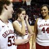 Oklahoma Sooner\'s Joanna McFarland (53), Whitney Hand (25) and Lyndsey Cloman (44) assemble for the Senior Day ceremony after the University of Oklahoma Sooners (OU) defeated the Kansas Jayhawks 85-77 in NCAA, women\'s college basketball at The Lloyd Noble Center on Saturday, March 2, 2013 in Norman, Okla. Photo by Steve Sisney, The Oklahoman