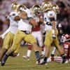 Notre Dame \'s Manti Te\'o (5) reacts after making an interception on a pass for OU\'s Jalen Saunders (18) during the college football game between the University of Oklahoma Sooners (OU) and the Notre Dame Fighting Irish at the Gaylord Family-Oklahoma Memorial Stadium on Saturday, Oct. 27, 2012, in Norman, Okla. Photo by Chris Landsberger, The Oklahoman