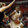 Oklahoma\'s Sharane Campbell protects the ball in the lane as the University of Oklahoma Sooners (OU) play the Wichita State Shockers in NCAA, women\'s college basketball at The Lloyd Noble Center on Sunday, Nov. 10, 2013 in Norman, Okla. Photo by Steve Sisney, The Oklahoman