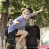 Emily O\'Kelley, Tulsa freshman, takes in the sun and a chance to slack line on the campus of the University of Oklahoma (OU) on Tuesday, Oct. 16, 2012 in Norman, Okla. Behind are Max Munchinski, left, and Adam Stackable. Photo by Steve Sisney, The Oklahoman