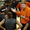 Photo - OSU, WOMEN'S COLLEGE BASKETBALL, NCAA TOURNAMENT: Oklahoma State University coach Kurt Budke talks to his team during practice day for the first round of the women's NCAA basketball tournament in the Jack Breslin Arena at Michigan State University on Saturday, March 17, 2007, in East Lansing, Mich.   staff photo by CHRIS LANDSBERGER ORG XMIT: KOD