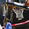 Oklahoma City\'s Reggie Jackson (15) dunks the ball past Memphis\' Marc Gasol (33) in the first half during Game 4 of the second-round NBA basketball playoff series between the Oklahoma City Thunder and the Memphis Grizzlies at FedExForum in Memphis, Tenn., Monday, May 13, 2013. Photo by Nate Billings, The Oklahoman