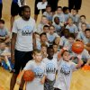 Kevin Durant engages campers during a shooting contest at his basketball camp on Thursday, Aug. 7, 2014 in Moore, Okla. Photo by Steve Sisney, The Oklahoman