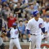 Photo -   Chicago Cubs' Anthony Rizzo watches his grand slam home run in the sixth inning during a baseball game against the Pittsburgh Pirates in Chicago, Sunday, Sept. 16, 2012. (AP Photo/Paul Beaty)