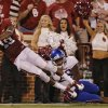 KU\'s Brandon Hawks (28) can\'t stop OU\'s Justin Brown (19) from scoring a touchdown during the college football game between the University of Oklahoma Sooners (OU) and the University of Kansas Jayhawks (KU) at Gaylord Family-Oklahoma Memorial Stadium on Saturday, Oct. 20th, 2012, in Norman, Okla. Photo by Chris Landsberger, The Oklahoman