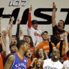 OSU fans react after James Anderson (23) made a three-point shot over Markieff Morris (21) of KU in the first half during the men\'s college basketball game between the University of Kansas (KU) and Oklahoma State University (OSU) at Gallagher-Iba Arena in Stillwater, Okla., Saturday, Feb. 27, 2010. Photo by Nate Billings, The Oklahoman