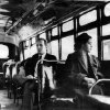 Photo - This an undated photo shows Rosa Parks riding on the Montgomery Area Transit System bus. Parks refused to give up her seat on a Montgomery bus on Dec. 1, 1955, and ignited the boycott that led to a federal court ruling against segregation in public transportation. In 1955, Montgomery's racially segregated buses carried 30,000 to 40,000 blacks each day. At a time when interest in civil rights memorabilia is rekindled, a lifetime's worth of Parks' belongings _ among them her Presidential Medal of Freedom _ sits in a New York warehouse, unseen and unsold.  (AP Photo/Daily Advertiser)