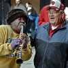 Street musician Doreen J. Ketchens of Doreen\'s Jazz band plays happy birthday to Sooner fan Jerry Kendall on the streets of the French Quarter before the start of the NCAA football BCS Sugar Bowl game between the University of Oklahoma Sooners (OU) and the University of Alabama Crimson Tide (UA) at the Superdome in New Orleans, La., Thursday, Jan. 2, 2014. Kendall turns 73 on Friday, and is the great uncle to Oklahoma quarterback Blake Bell. Photo by Chris Landsberger, The Oklahoman