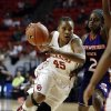 Oklahoma Sooners\' Jasmine Hartman (45) drives around Northwestern State Lady Demons\' Tiandra Williams (2) during the second half as the University of Oklahoma (OU) Sooner women\'s basketball team plays the Northwestern State Lady Demons at the Lloyd Noble Center on Thursday, Nov. 29, 2012 in Norman, Okla. Photo by Steve Sisney, The Oklahoman