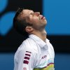 Radek Stepanek of the Czech Republic reacts during his third round match against Serbia\'s Novak Djokovic at the Australian Open tennis championship in Melbourne, Australia, Friday, Jan. 18, 2013.(AP Photo/Dita Alangkara)