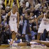 Oklahoma City\'s Russell Westbrook (0), Kevin Durant (35), and James Harden (13) celebrate after Durant was fouled while making a basket during the NBA basketball game between the Denver Nuggets and the Oklahoma City Thunder in the first round of the NBA playoffs at the Oklahoma City Arena, Wednesday, April 27, 2011. Photo by Bryan Terry, The Oklahoman