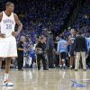 Oklahoma City\'s Kevin Durant looks to the sideline during a time out late in the 114-101 loss to Memphis during game one of the Western Conference semifinals between the Memphis Grizzlies and the Oklahoma City Thunder in the NBA basketball playoffs at Oklahoma City Arena in Oklahoma City, Sunday, May 1, 2011. Photo by Chris Landsberger, The Oklahoman
